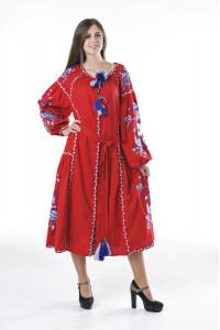 Сукня «Птахи» червоного кольору з клином