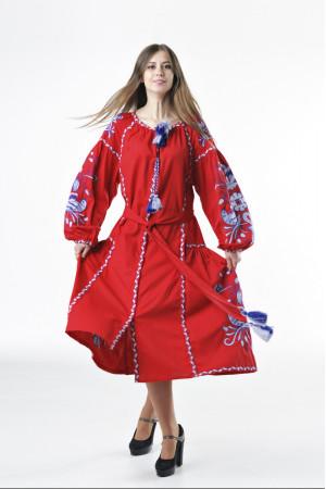 Платье «Птицы» красного цвета с клином