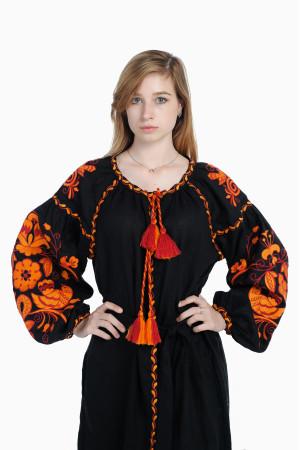 Платье «Жар-птица» черного цвета, длинное