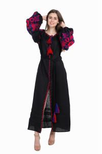 Сукня «Птахи» чорного кольору, довга