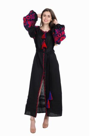 Платье «Птицы» черного цвета, длинное