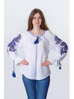 Вишиванка «Диво-квітка» білого кольору з синьою вишивкою