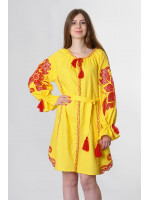 Платье «Чудо-цветок» желтого цвета, короткое