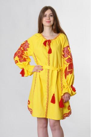 Сукня «Диво-квітка» жовтого кольору, коротка
