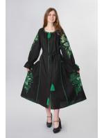 Платье «Чудо-цветок» черного цвета с зеленой вышивкой, длинное
