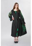 Сукня «Диво-квітка» чорного кольору з зеленою вишивкою, довга