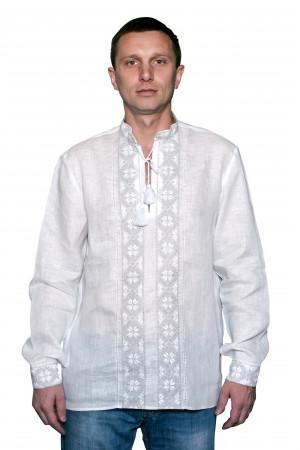 """Вышиванка """"Панская"""" белая с белым орнаментом"""