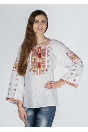 """Вишиванка """"Пані Полуботок"""" з жовто-червоним орнаментом"""