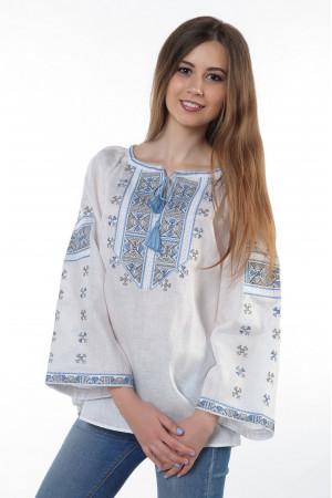 """Вишиванка """"Пані Полуботок"""" з сіро-блакитним орнаментом"""