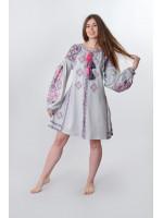 Платье «Косов» серого цвета, короткое