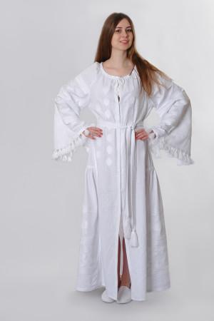 Платье «Гуцульское» белого цвета, длинное