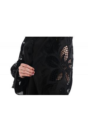 Вышиванка «Чудо-цветок» черного цвета