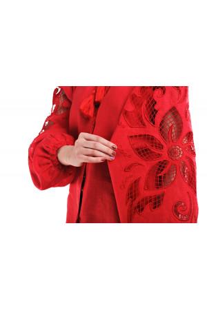 Вышиванка «Чудо-цветок» красного цвета