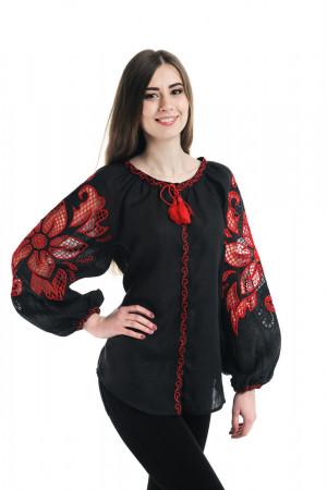 Вышиванка «Чудо-цветок» с вышивкой красного цвета