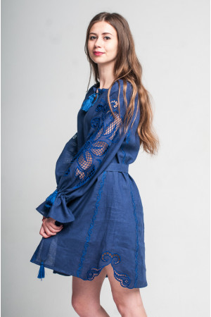 Платье «Чудо-цветок» синего цвета