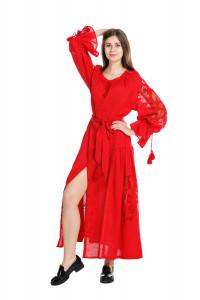 Сукня «Диво-квітка» червоного кольору, довга