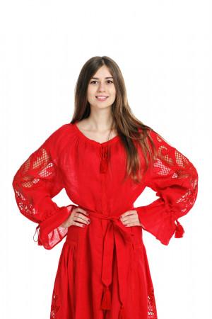Платье «Чудо-цветок» красного цвета, длинное