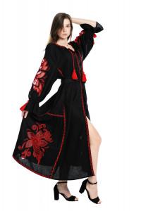 Платье «Чудо-цветок» с вышивкой красного цвета, длинное