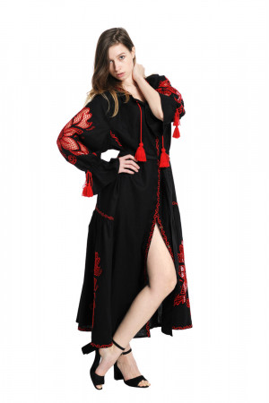 Сукня «Диво-квітка» з вишивкою червоного кольору c78b8a1d1434b