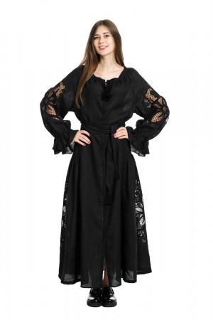 Платье «Чудо-цветок» черного цвета, длинное