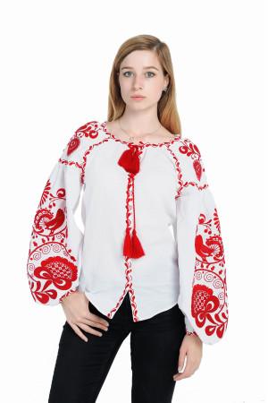 Вышиванка «Дерево жизни» с вышивкой красного цвета