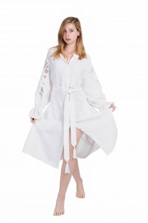 Платье «Чудо-цветок» белое, средней длины