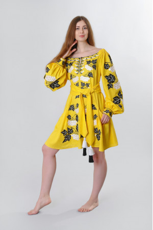 Платье «Калина» желтого цвета, короткое