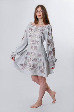 Платье «Калина» серого цвета, короткое
