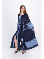 Платье «Цветы Карпат» темно-синего цвета (макси)