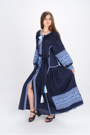 Сукня «Квіти Карпат» темно-синього кольору (максі)