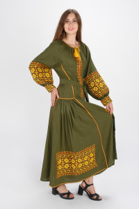 Платье «Цветы Карпат» оливкового цвета (макси)