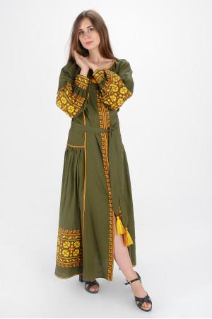Сукня «Квіти Карпат» оливкового кольору (максі)