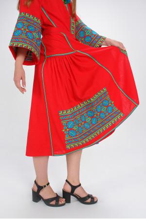 Платье «Цветы Карпат» красного цвета (миди)