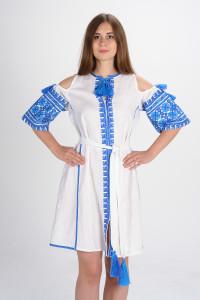Сукня «Квіти Карпат» білого кольору (міні)