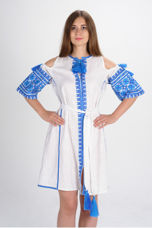 Платье «Цветы Карпат» белого цвета (мини)