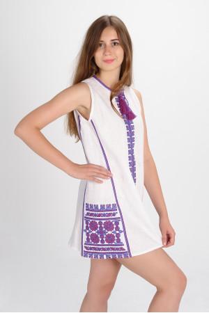 Платье «Цветы Карпат» с фиолетовым орнаментом