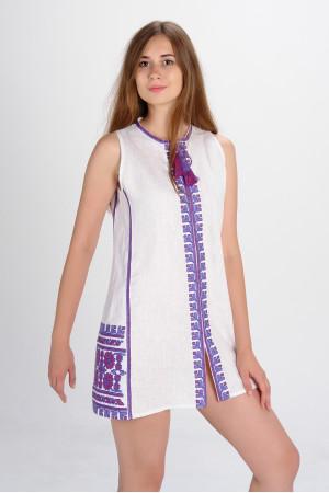 Сукня «Квіти Карпат» з фіолетовим орнаментом