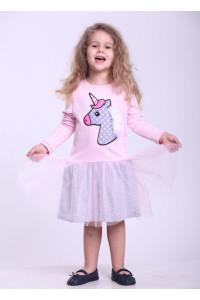 Платье «Веселый единорог» розового цвета с серым