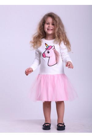 Платье «Веселый единорог» молочного цвета с розовым