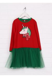 Сукня «Веселий єдиноріг» червоного кольору з зеленим