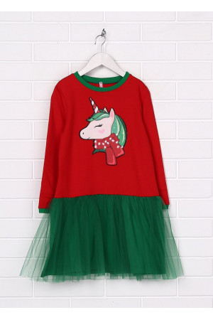 Платье «Веселый единорог» красного цвета с зеленым