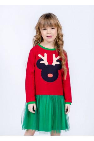 Платье «Дипси» красного цвета с зеленым