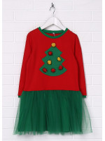 Сукня «Ялинка» червоного кольору з зеленим
