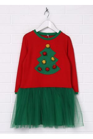 Платье «Ёлочка» красного цвета с зеленым