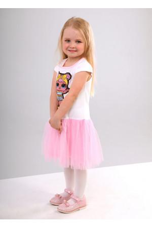 Сукня «Бейбі» молочного кольору з рожевим КР