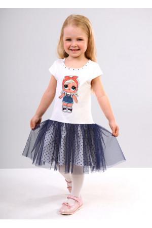 Сукня «Бейбі» молочного кольору з синім КР