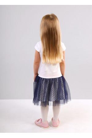 Платье «Бейби» молочного цвета с синим КР