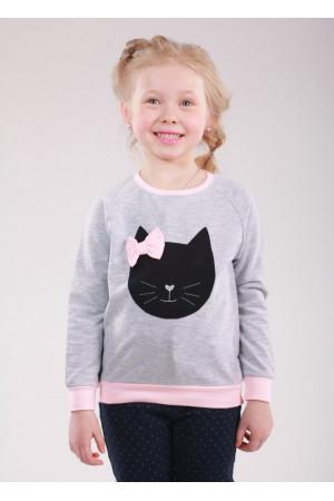 Джемпер «Кет» серого цвета с розовым