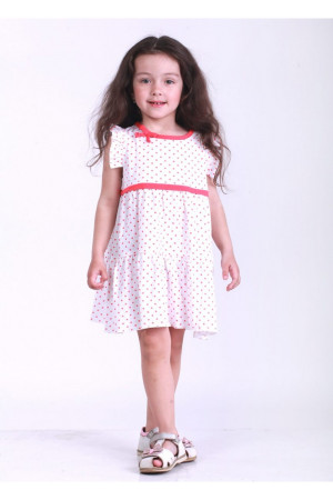 Платье «Мадлен» белого цвета с коралловым