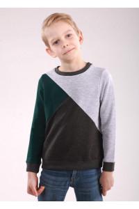 Джемпер «Марк» серого цвета с зеленым
